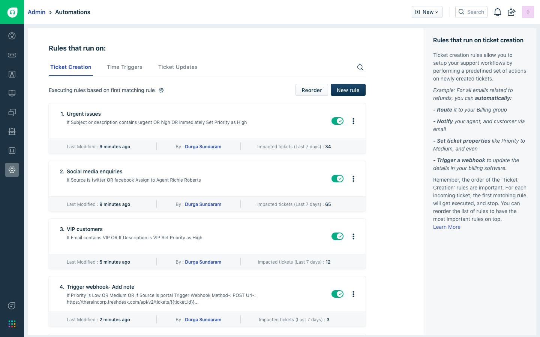 Freshdesk-Workflow automations