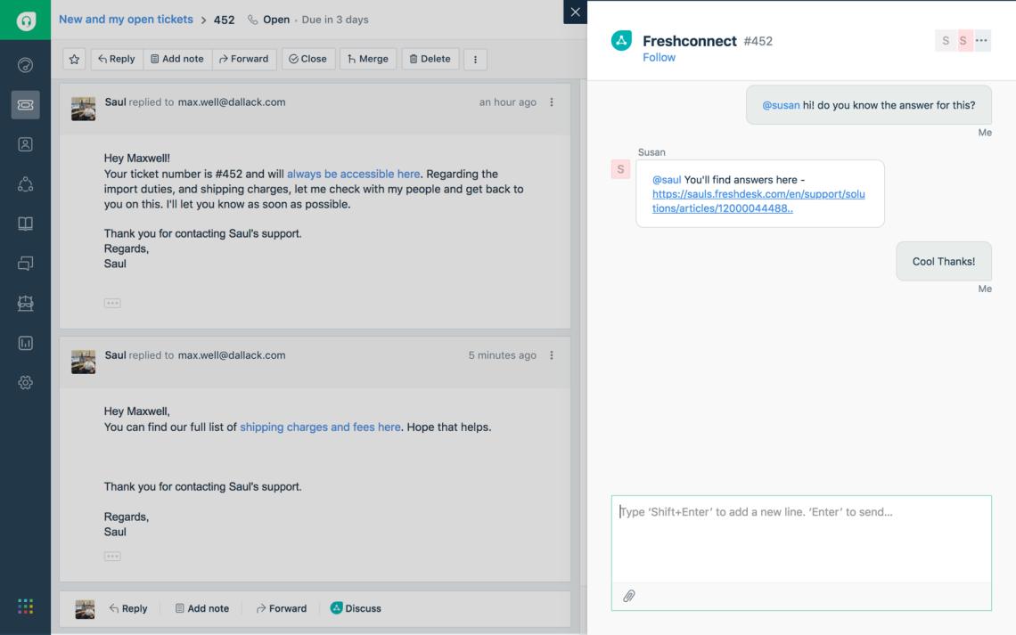 Freshdesk-Contextual collaboration