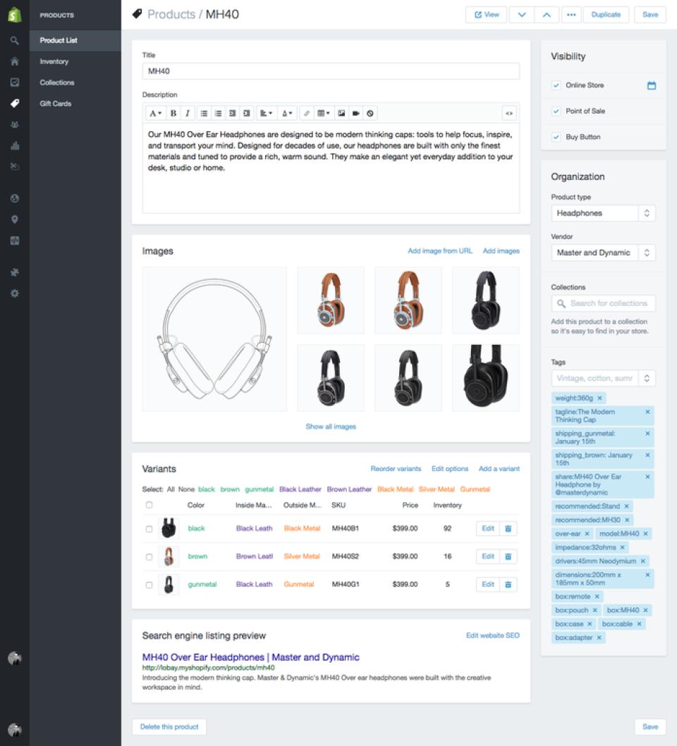 Shopify: descrizione del prodotto