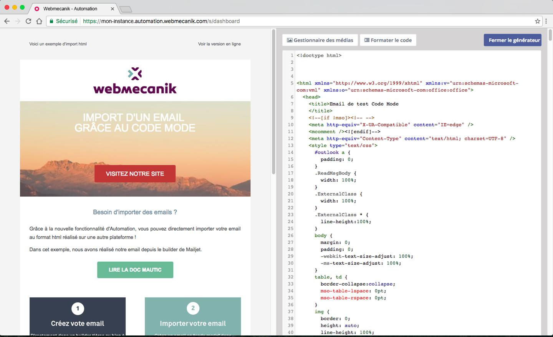 mail Editore con possibilità di modificare le email HTML