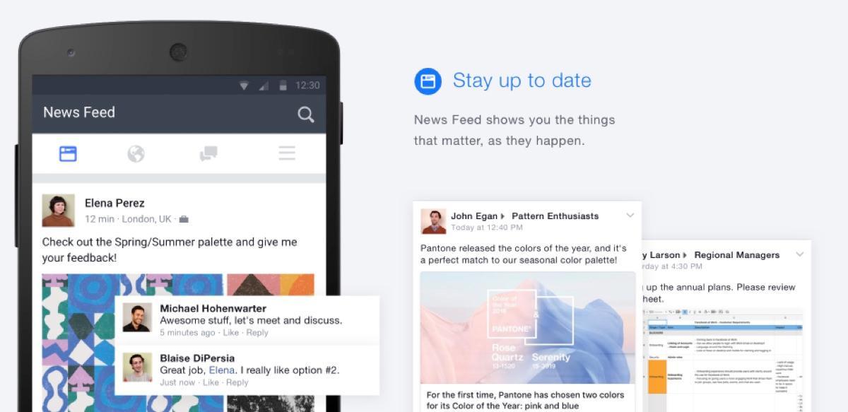 Facebook sul lavoro: Feed e la notifica