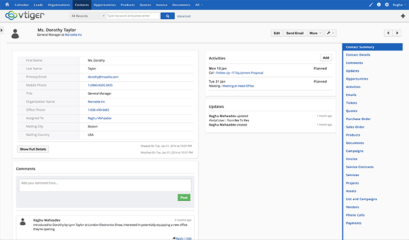 Vtiger CRM sito web (plug-in, forma), la visualizzazione e il monitoraggio del progetto, previsioni di vendita