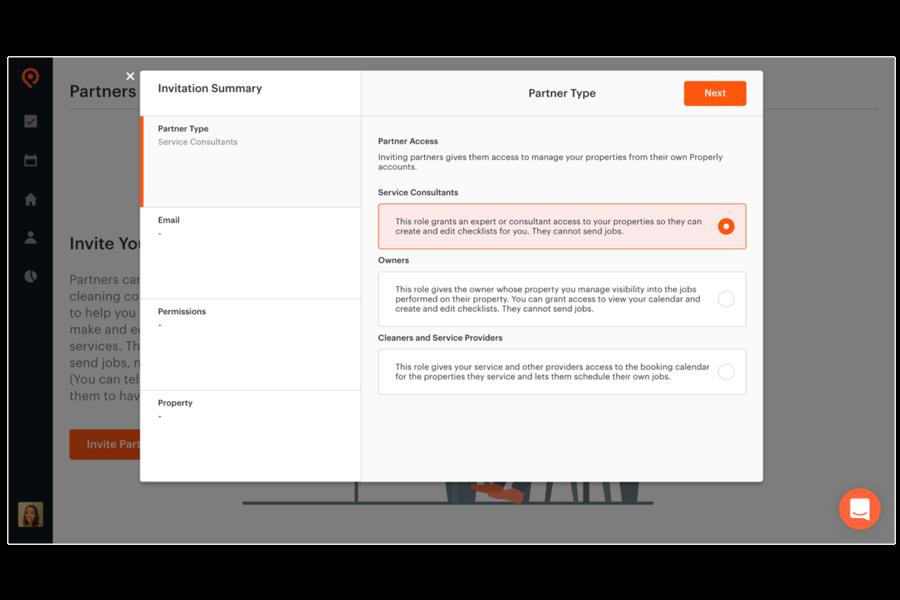 strumenti di collaborazione per condividere l'accesso alle proprietà e richieste di lavoro con i tuoi collaboratori, partner e addetti alle pulizie