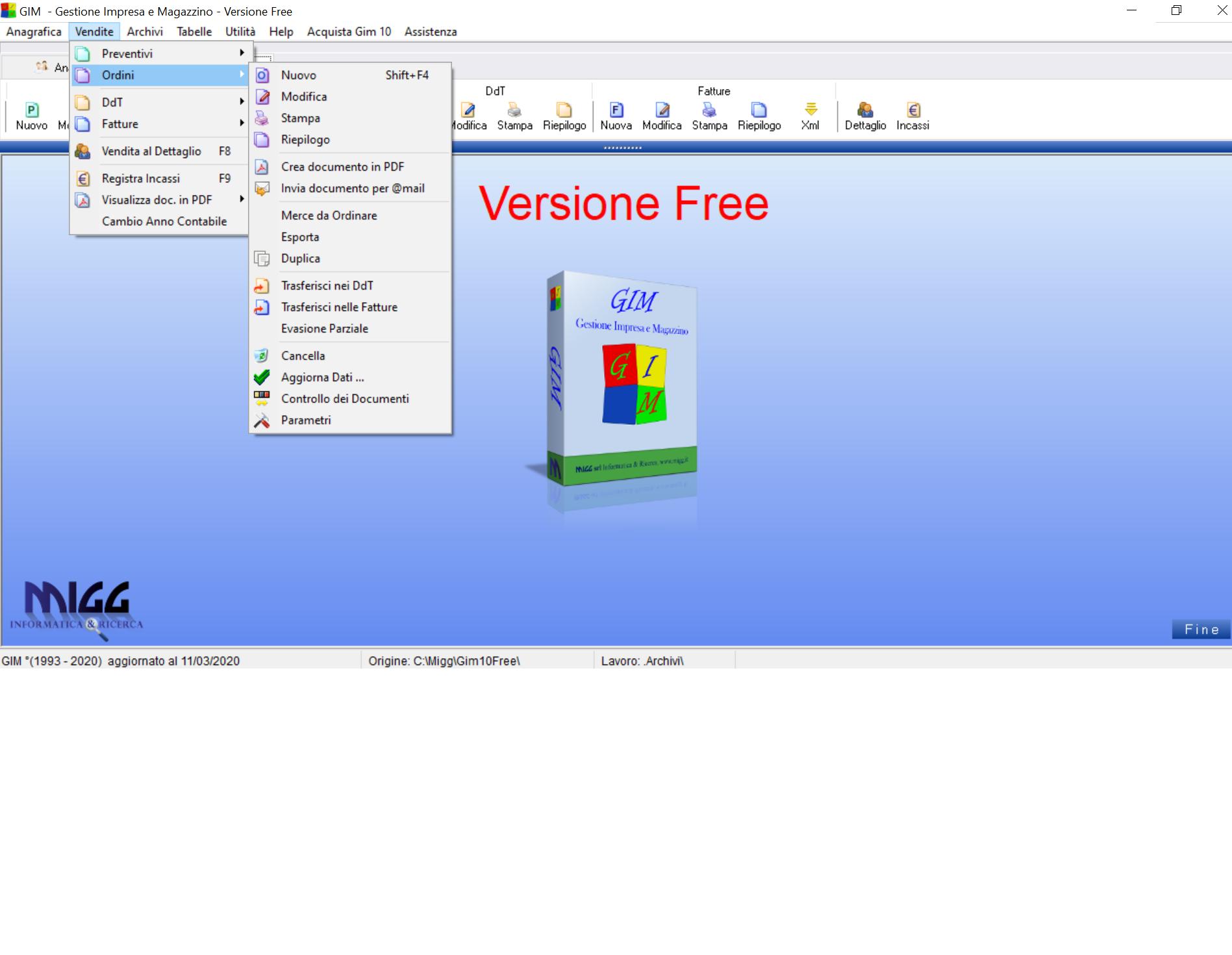 GIM Free - software di fatturazione per aziende e liberi professionisti