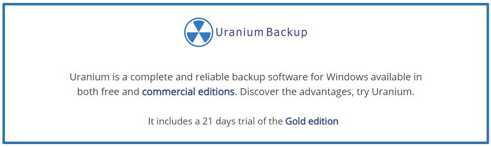 Recensioni Uranium Backup: Software di backup gratuito compatibile con Windows Server - Appvizer