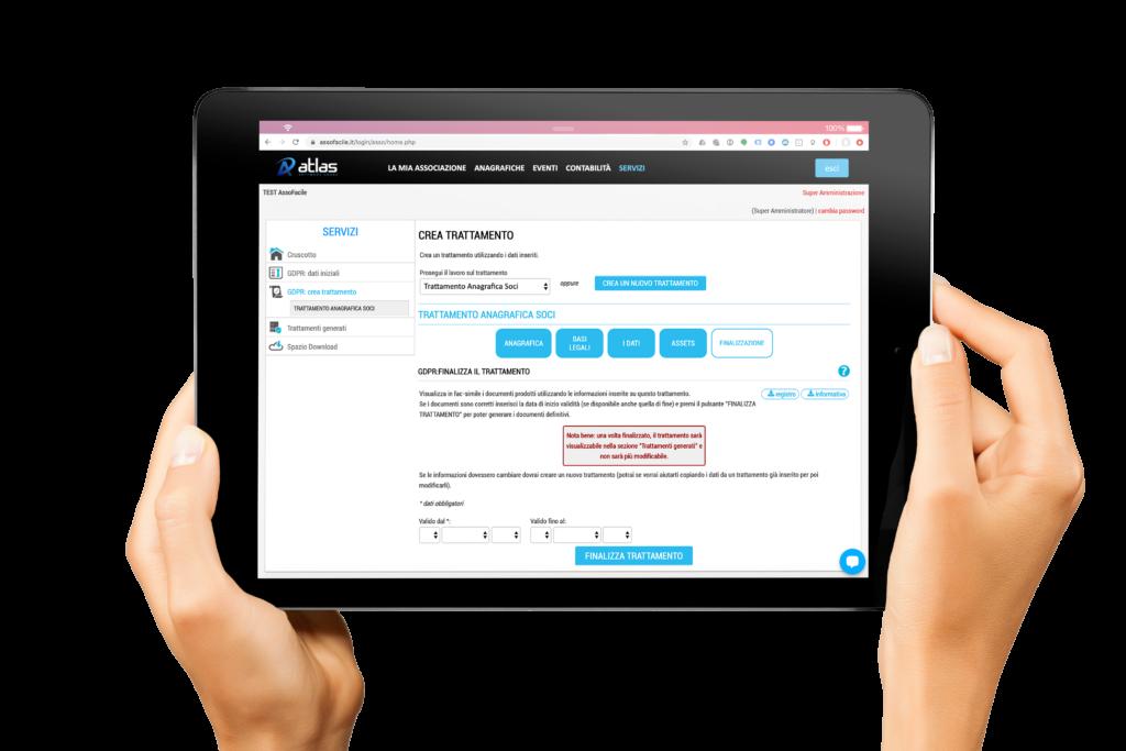 """Integrando il pacchetto """"GDPRfacile™"""" potrai creare le tue informative e i registri dei trattamenti ai sensi della Normativa GDPR Ue 679/2016. Evitando così una sanzione alla tua Associazione pari al 4% del fatturato dell'anno precedente."""