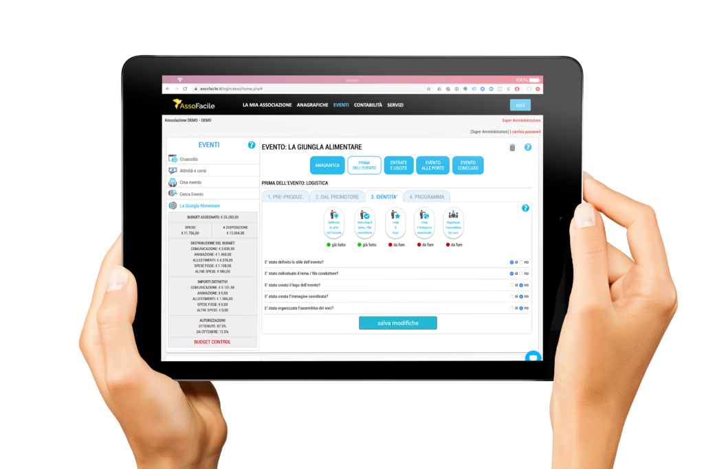 AssoFacile™ semplifica ed automatizza la gestione dei Grandi Eventi della tua associazione.