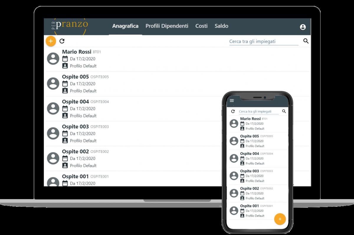 Pannello di gestione dell'anagrafica e dei profili spesa dei dipendenti