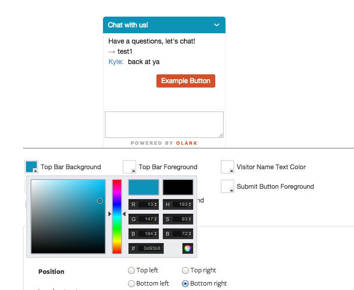 Olark: Sito Web (plug-in, forma), profilo del cliente, Help Desk