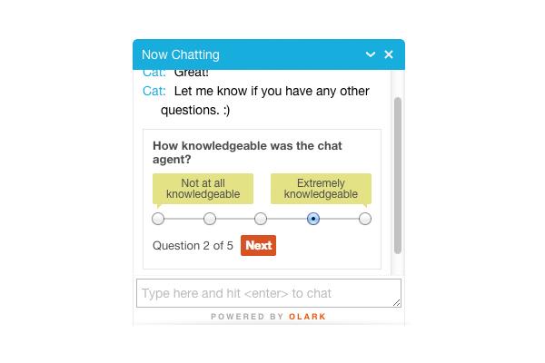 Olark: supporto (telefono, email, biglietto), chat dal vivo, Help Desk
