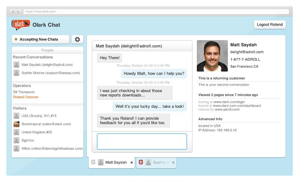 Olark: API di servizi web, applicazioni mobile, comunitari (FAQ, Forum)