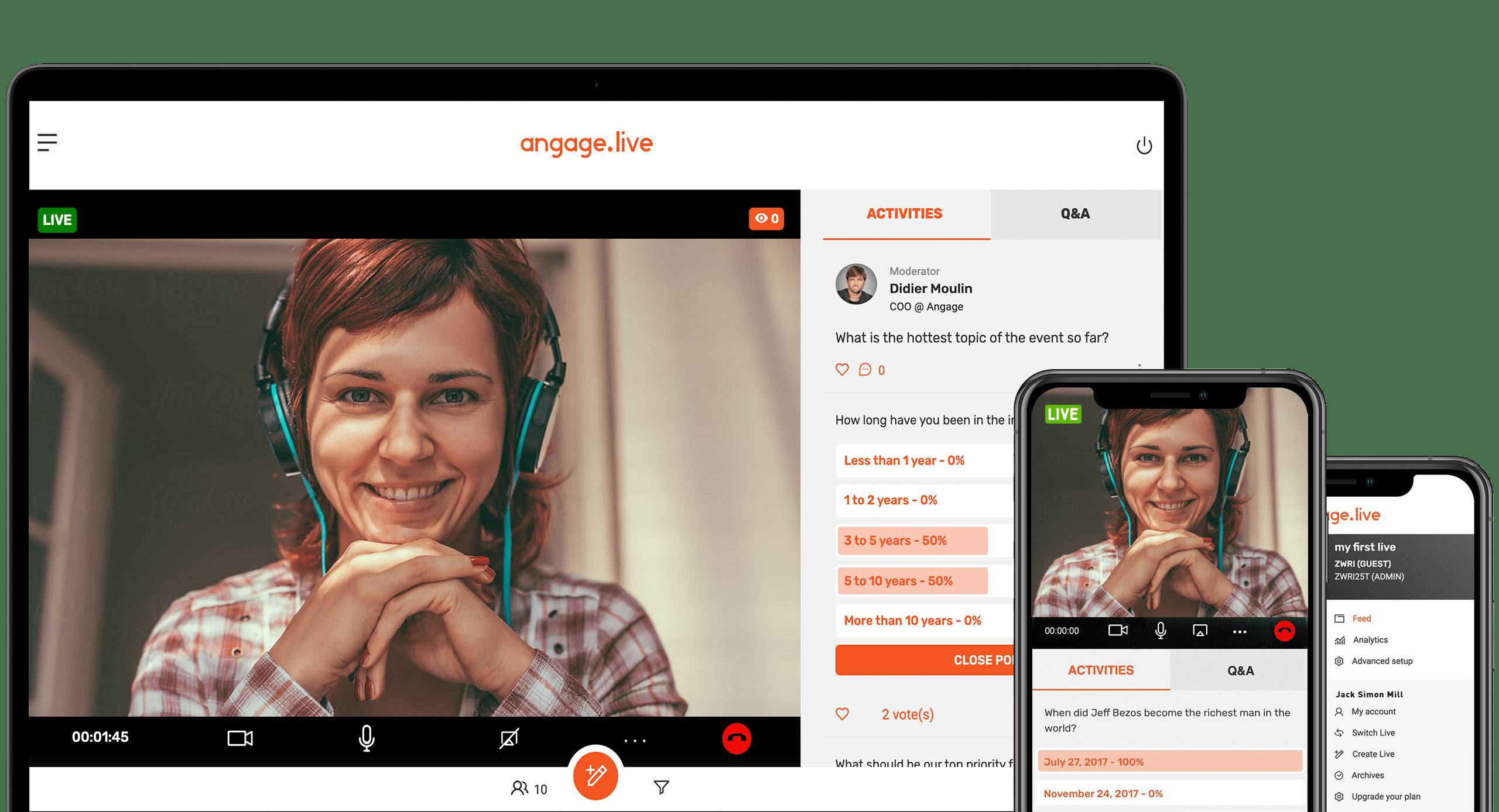 Recensioni Angage Live: App per live video, Q&A e questionari - appvizer