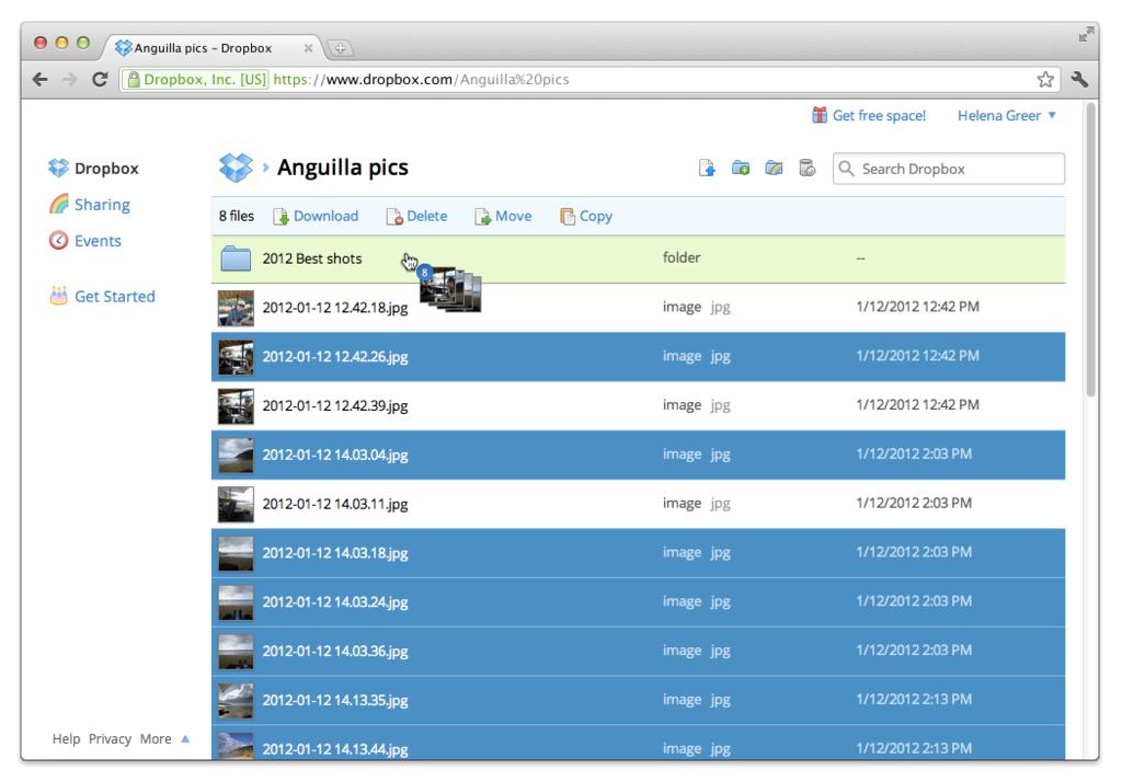 DropBox: Adaptive Web Interface, raccolta documenti, documento Timbro data