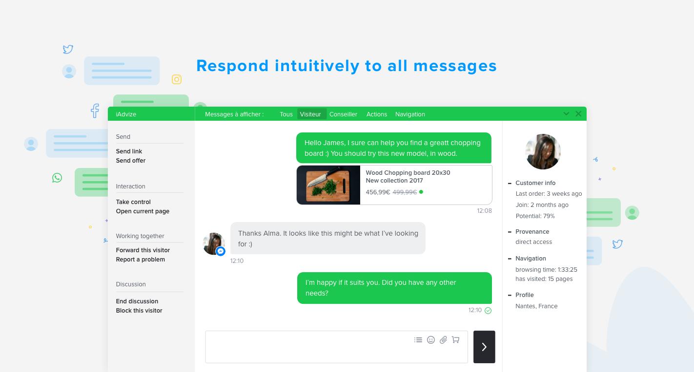 Inizia una conversazione con i clienti in tempo reale su tutti i canali tramite un'unica piattaforma