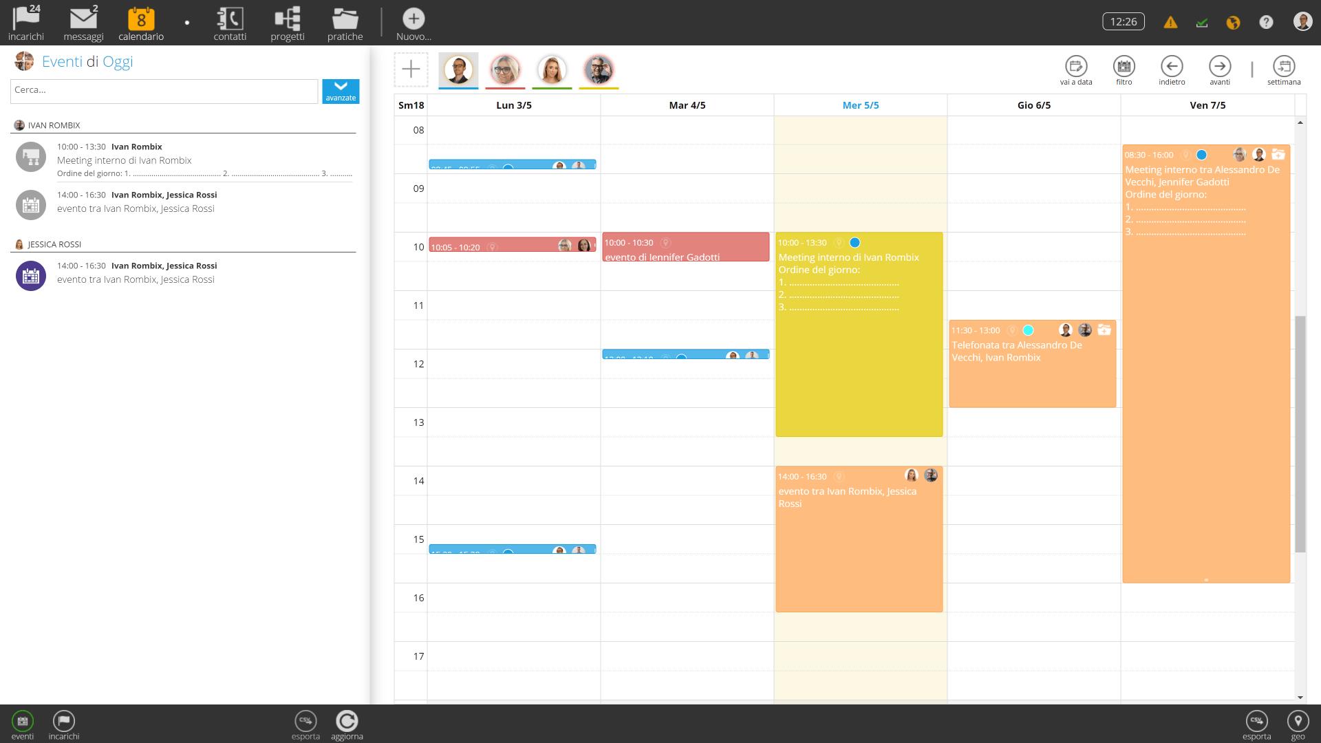 Calendario aziendale condiviso. Dettagli eventi personalizzabili, inviti per partecipanti esterni.