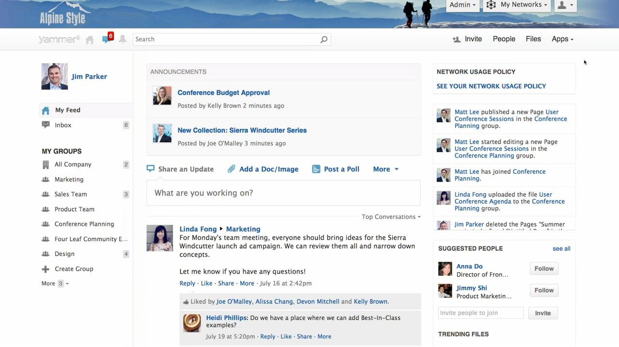 Yammer: conoscenze di base sulla wiki, News Feed, Secure Sockets Layer (SSL)