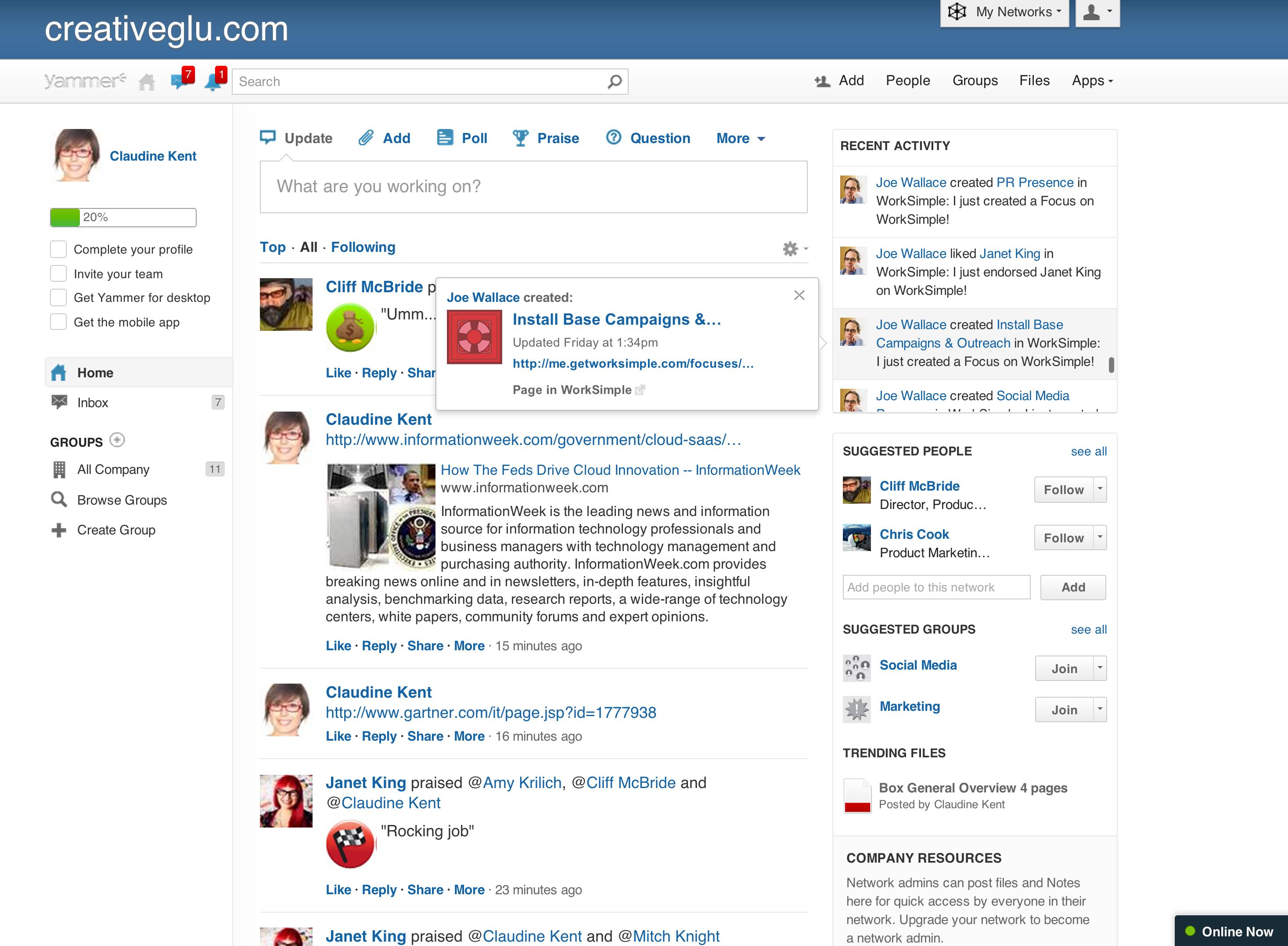 Yammer: News Feed, Intranet e comunità Task Manager