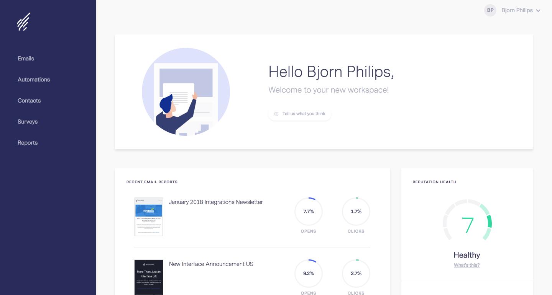 Benchmark Email - Dashboard